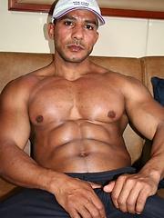 Muscle latino man jerking off dick