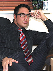 The feel of Marcello's long sheer socks and suit turns him on so much that he fucks a fleshlight