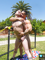After soccer drills, Cute Jock Bottom scores on Hot Muscle Top.